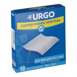 Urgo Compresse de gaze hydrophile tissée, 10x10 cm, boîte de 10