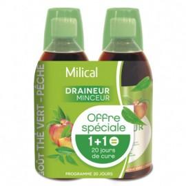 Milical draineur ultra thé pêche boisson – Flacon 500 ml – Lot de 2
