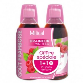 Milical draineur ultra framboise boisson – Flacon 500 ml - Lot de 2